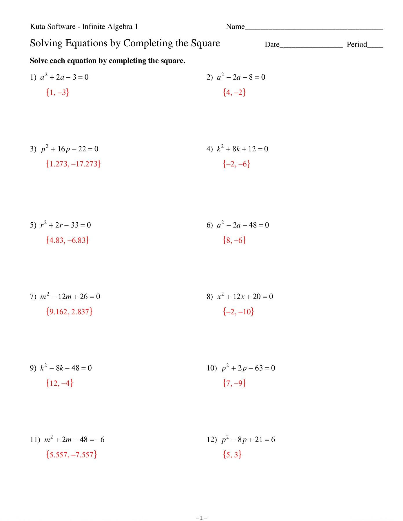 Solving Quadratic Equationscompleting The Square Worksheet