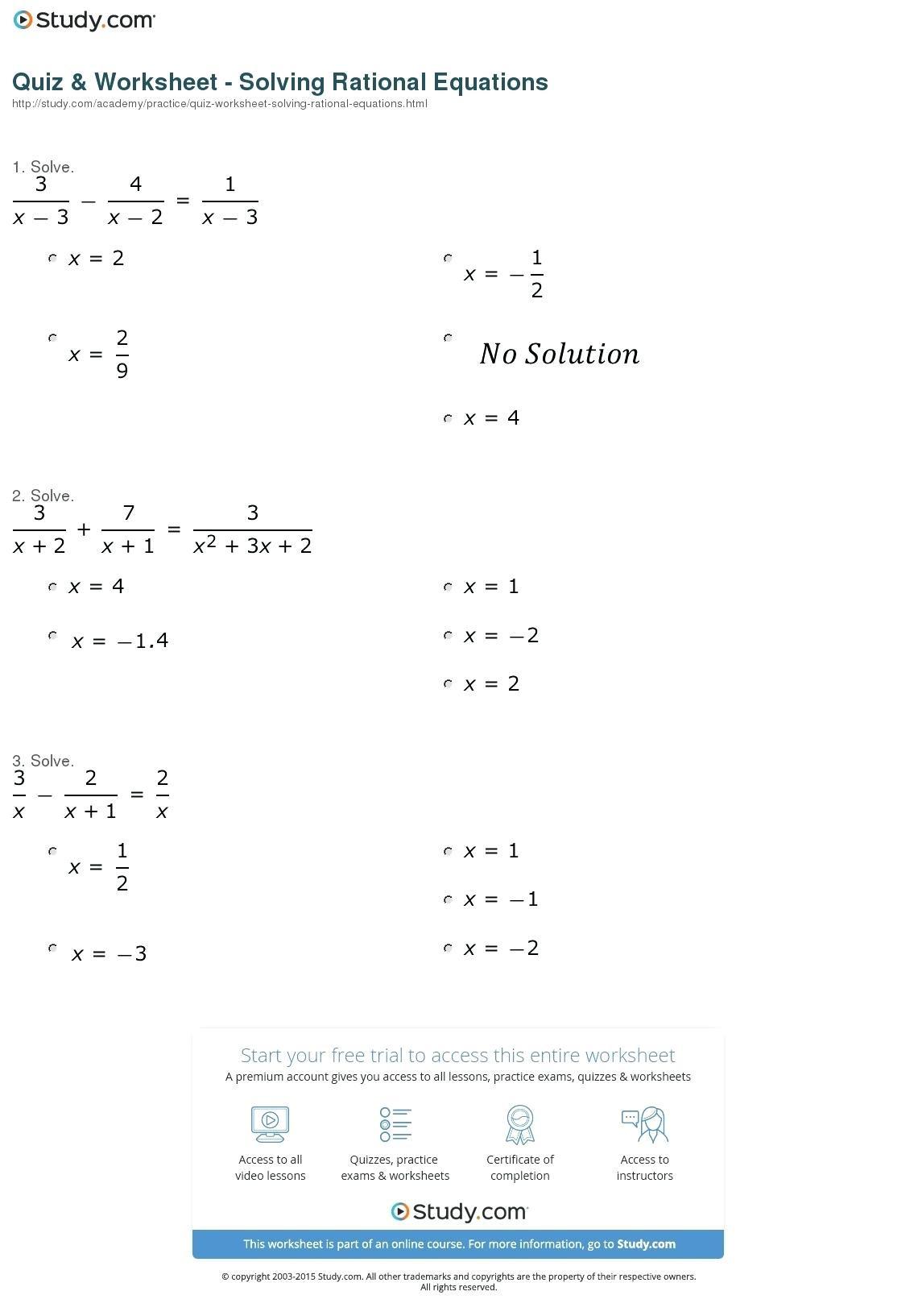 Solving Rational Expressions Worksheet Math Solving