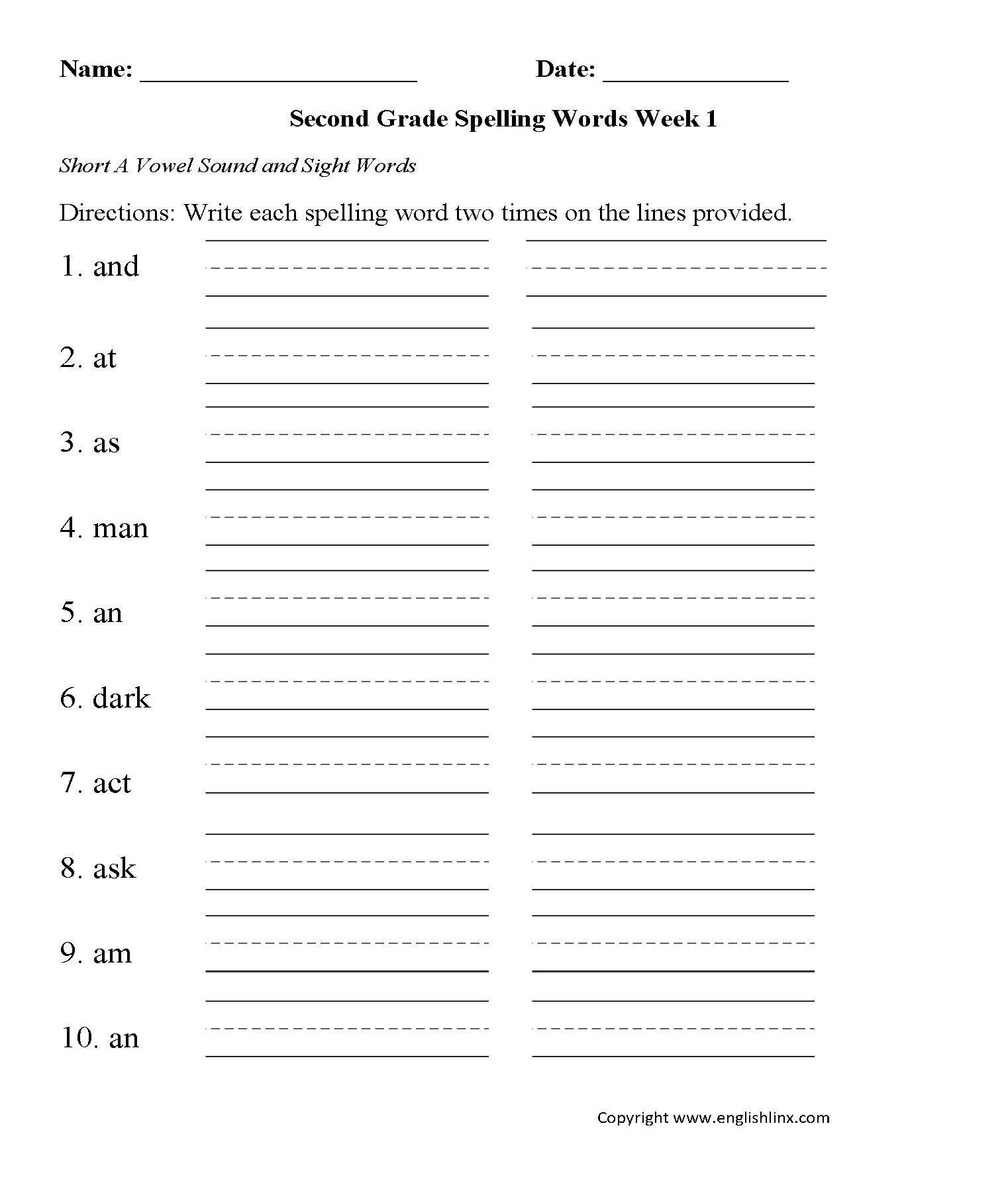2nd Grade Spelling Worksheets