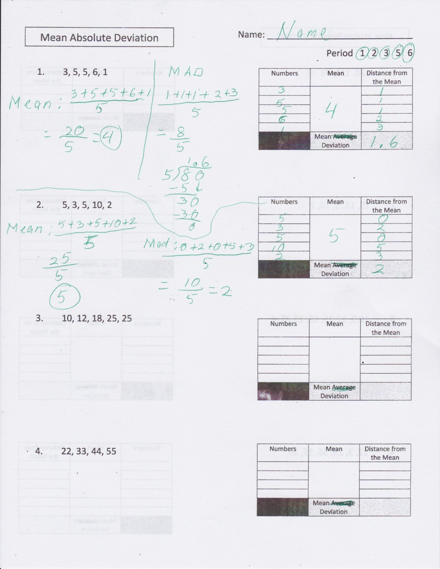 Standard Deviation Worksheet Answers