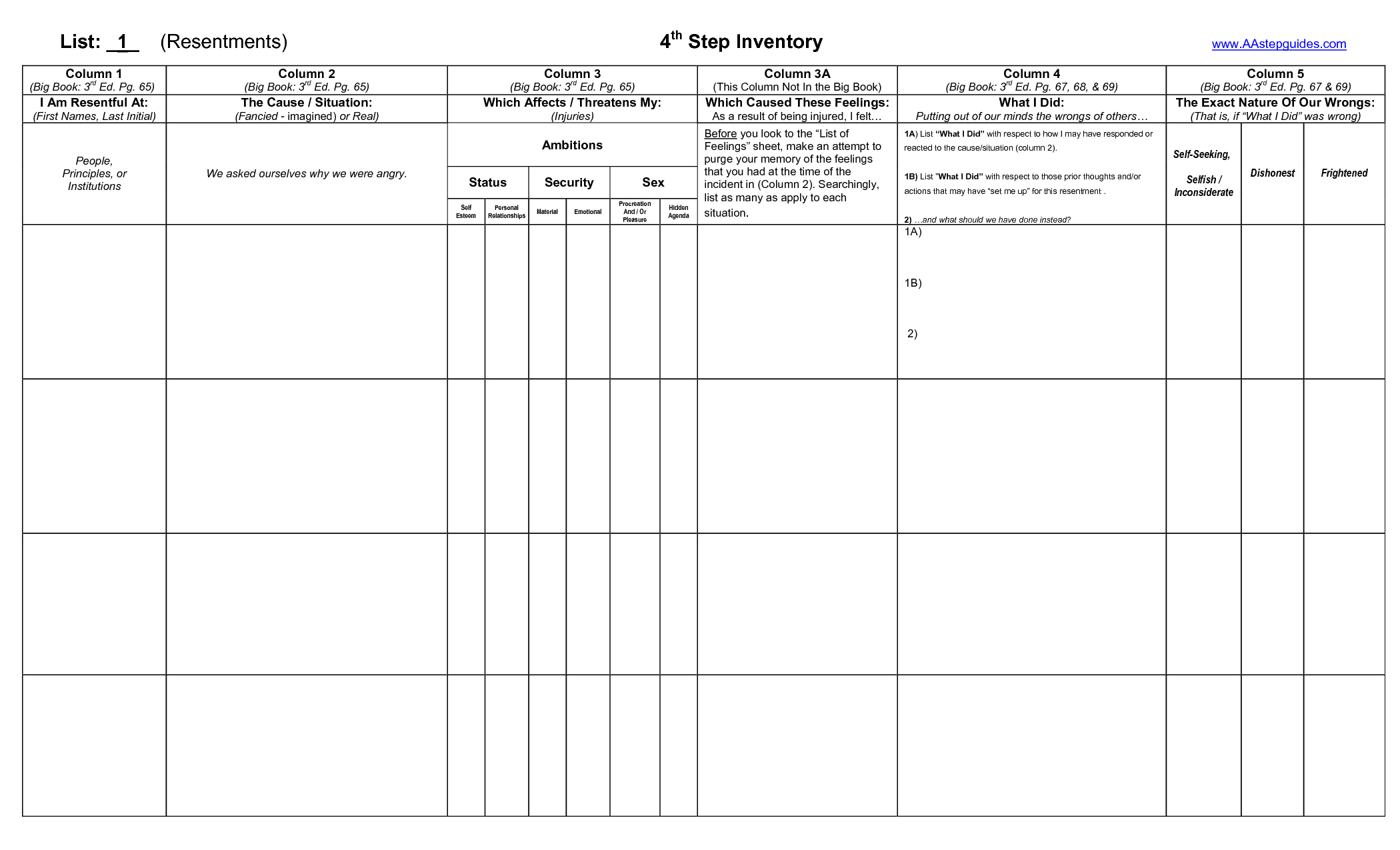 Step Four Worksheets Free Worksheets Library Download