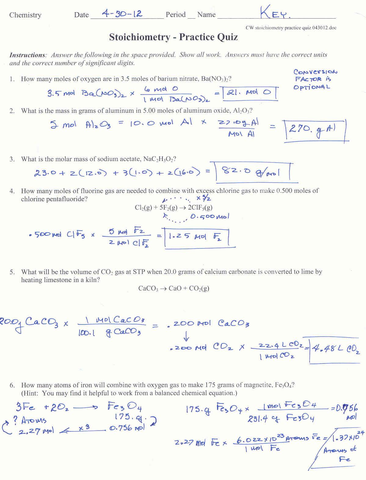 Stoichiometry Worksheet Answer Key Inequalities Worksheet