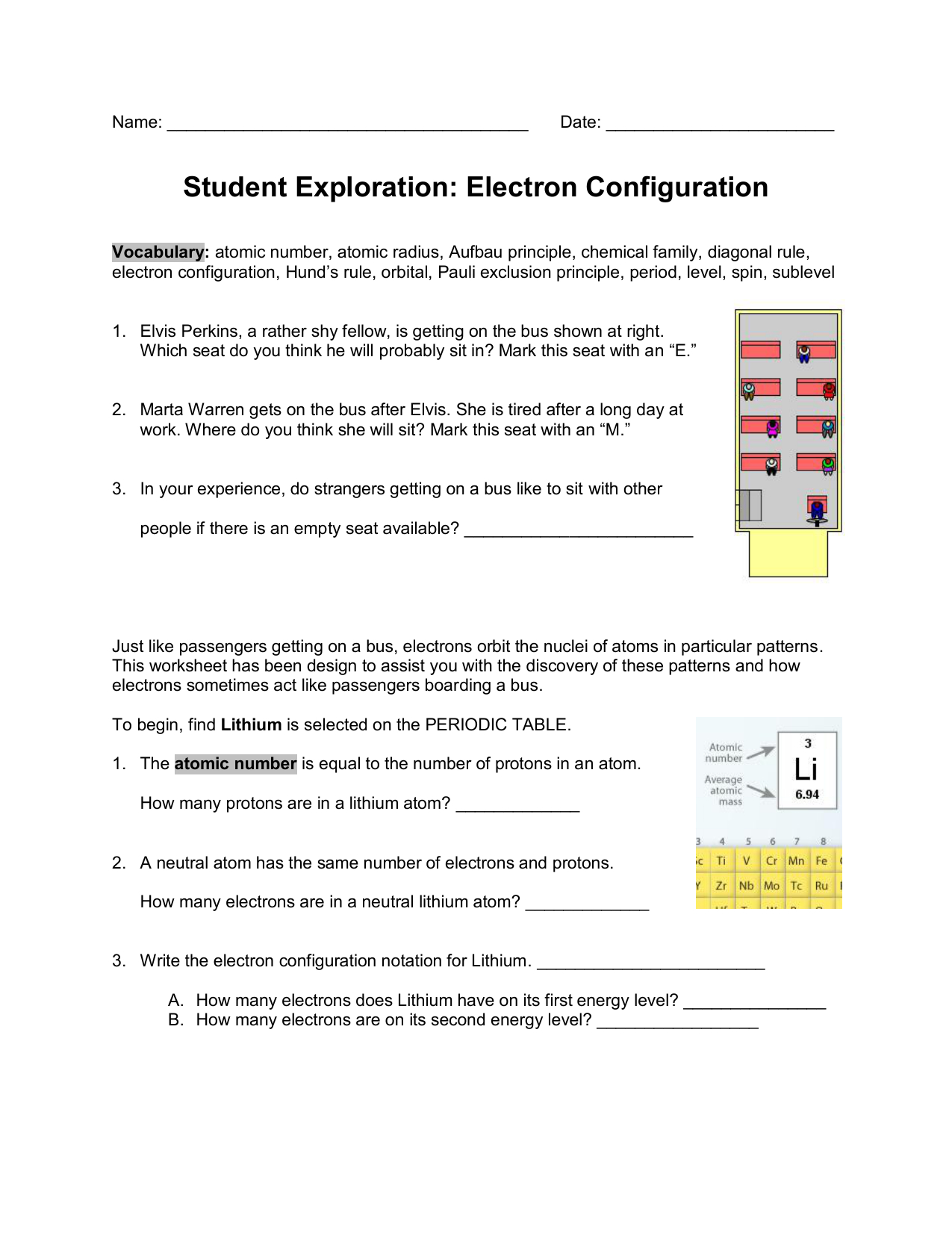Writing Electron Configuration Worksheet Answers