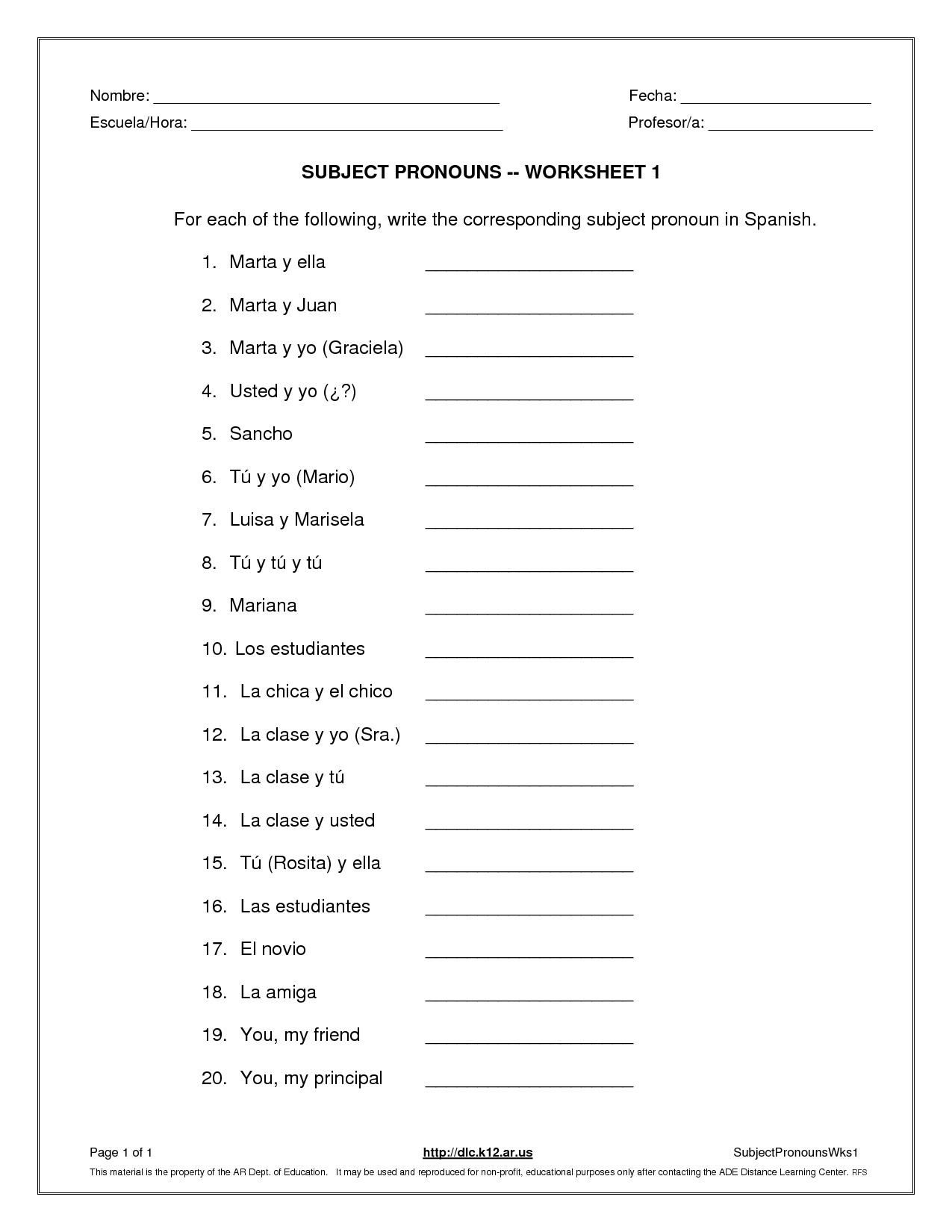 Subject And Object Pronouns Worksheet Subject Pronouns