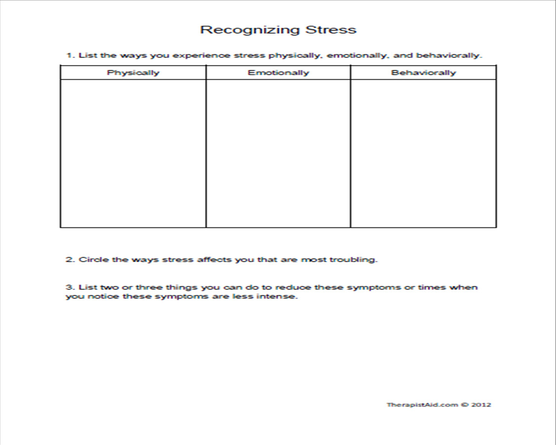 Substance Abuse Worksheets For Adults