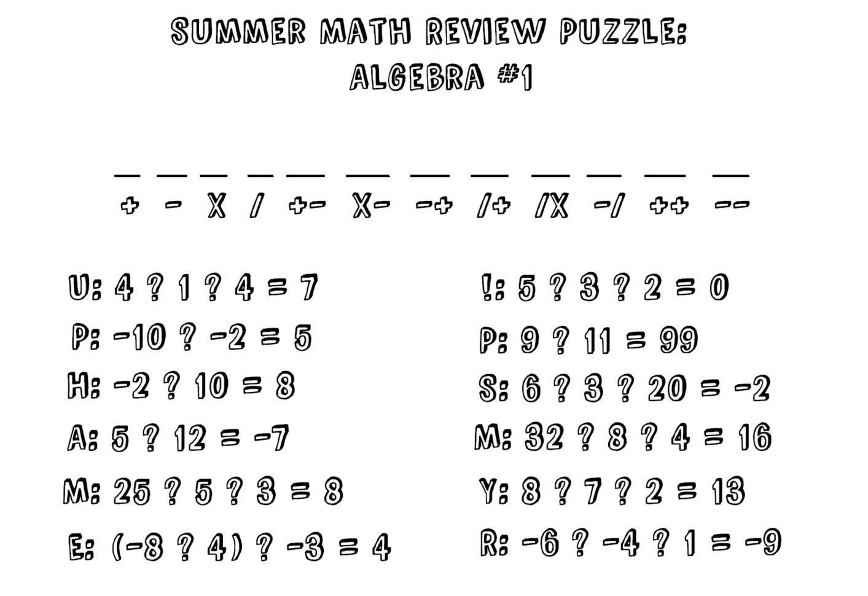 Summer Math Review Puzzle Algebra I 1 Stick Figure