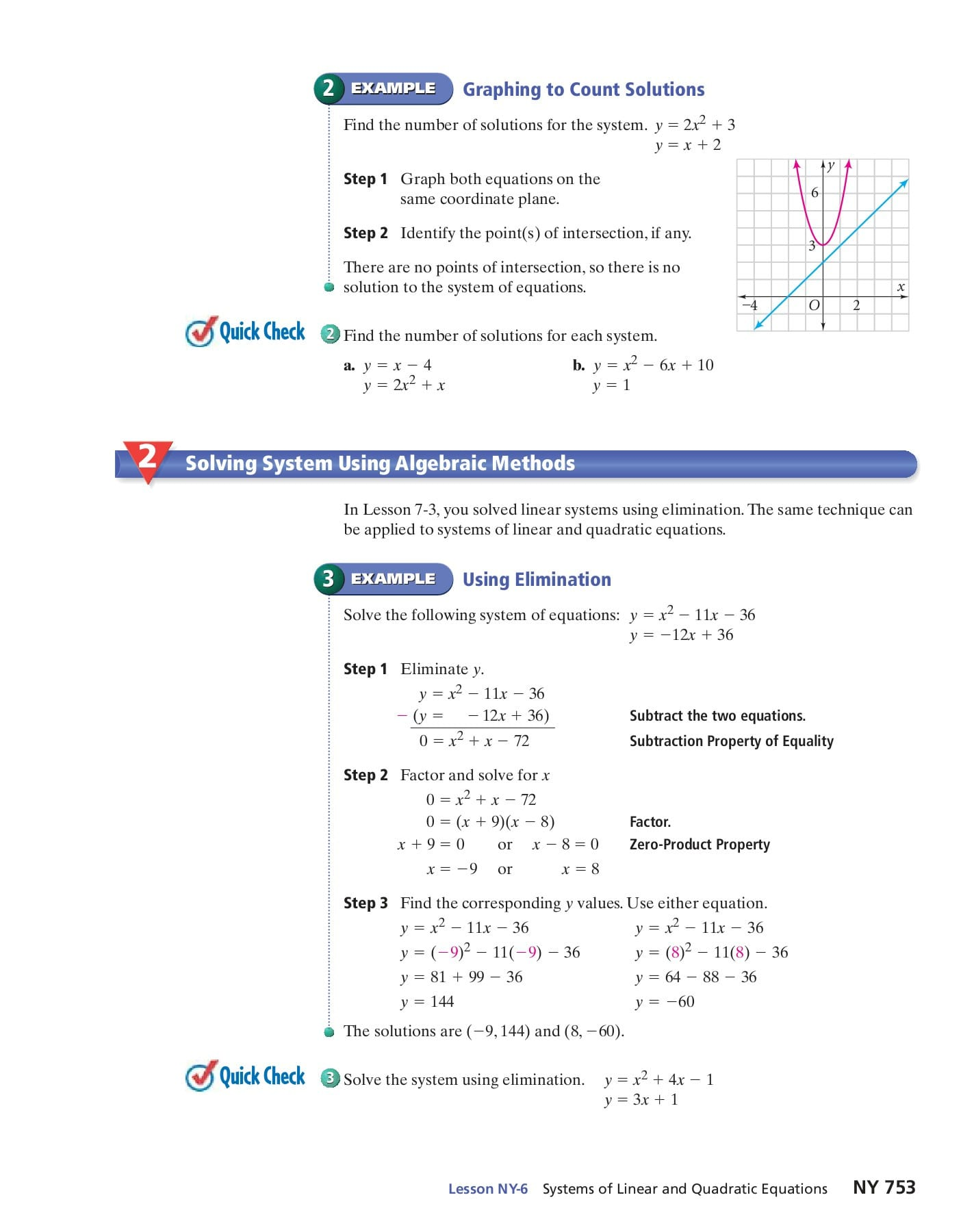 Systems Of Linear And Quadratic Equations Phschool