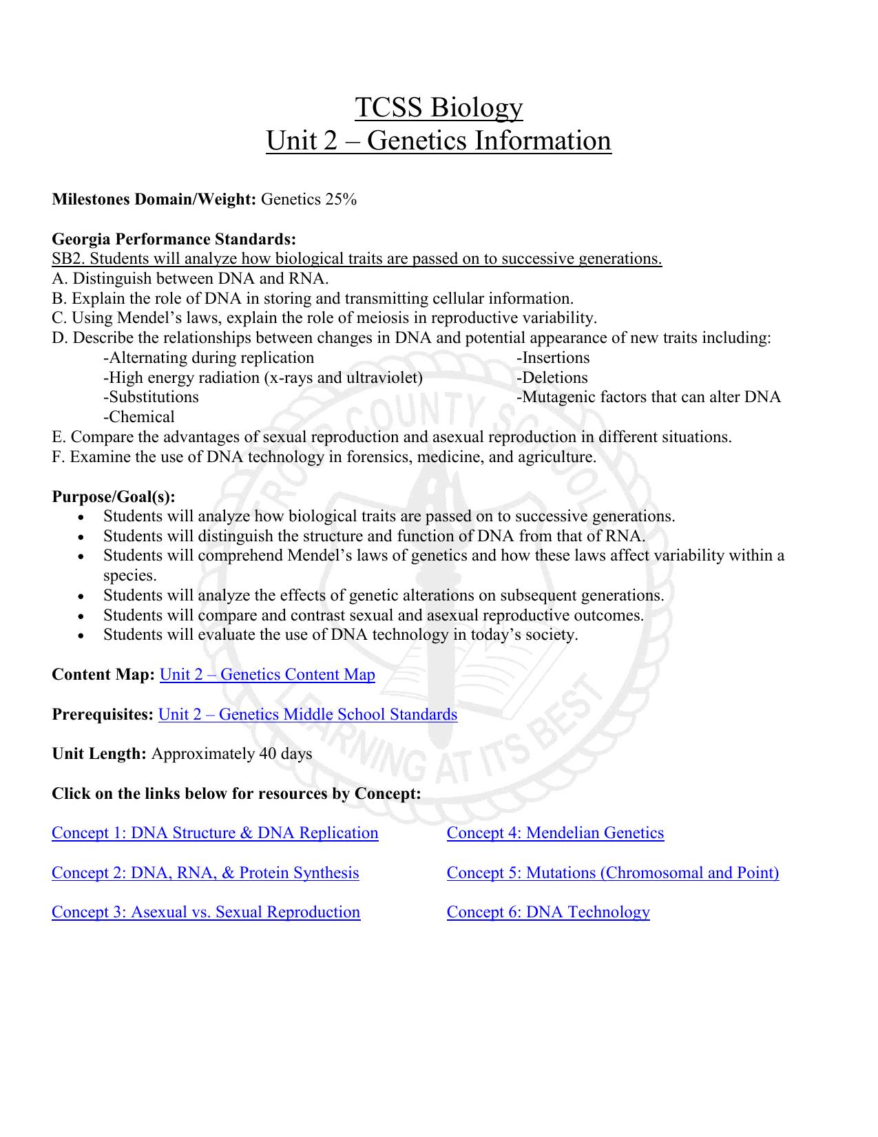 Tcss Biology Unit 2 Genetics Information