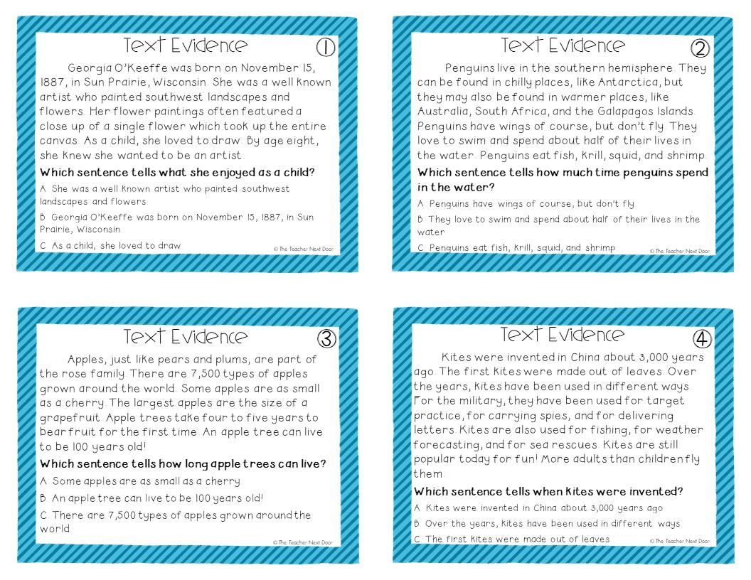 Citing Textual Evidence Worksheet 6th Grade