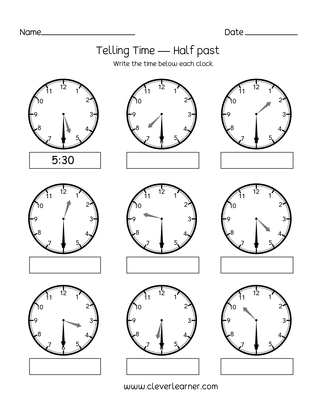 Telling Time Half Past The Hour Worksheets For 1st And 2nd