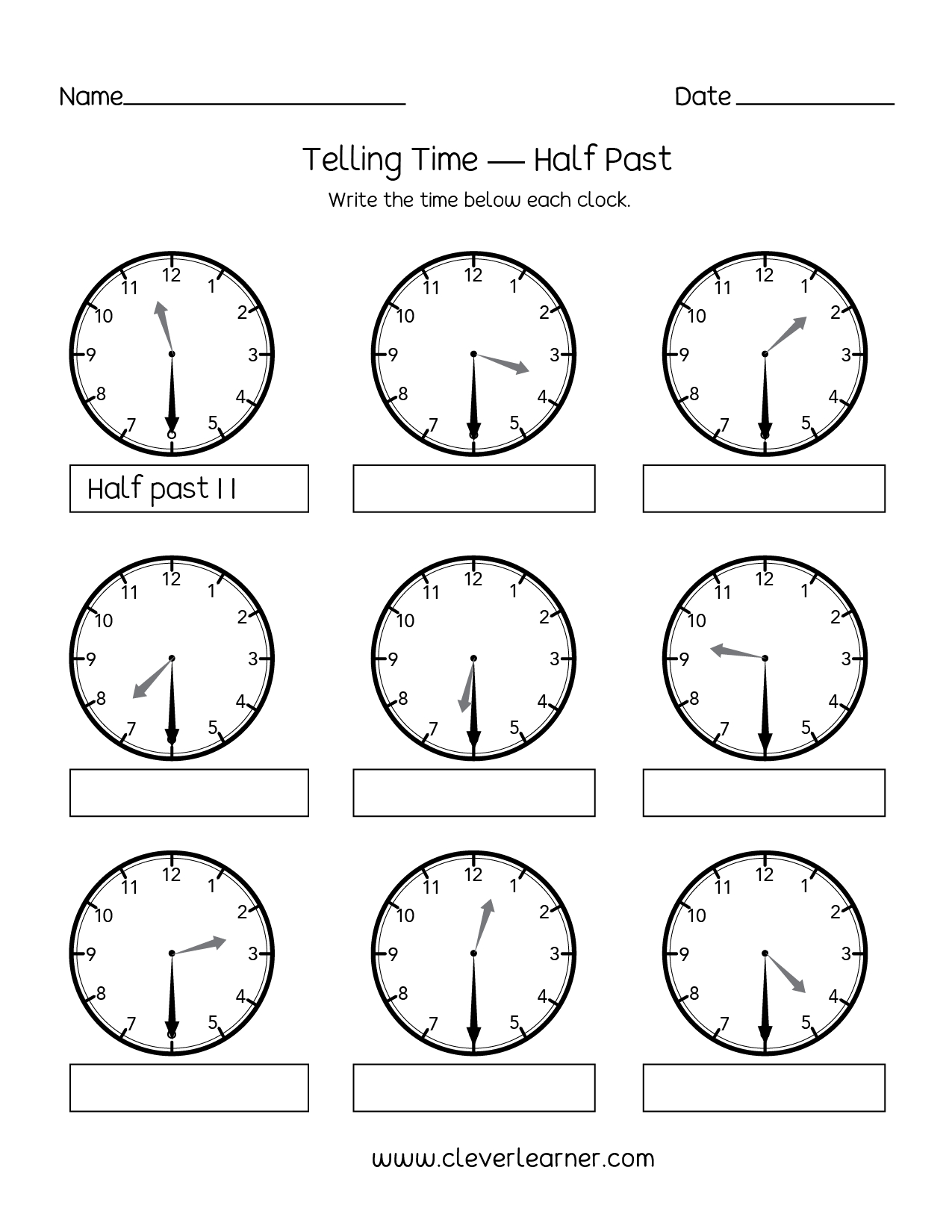 Telling Time To The Half Hour Worksheets