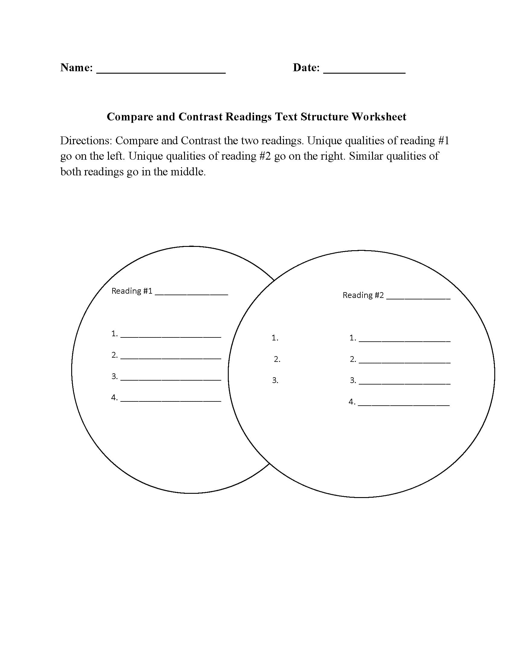 Compare And Contrast Worksheets 5th Grade