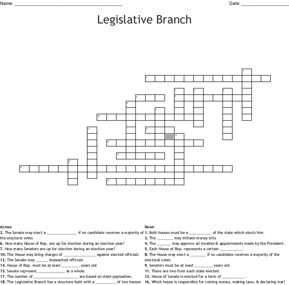 Worksheet The Legislative Branch Answers