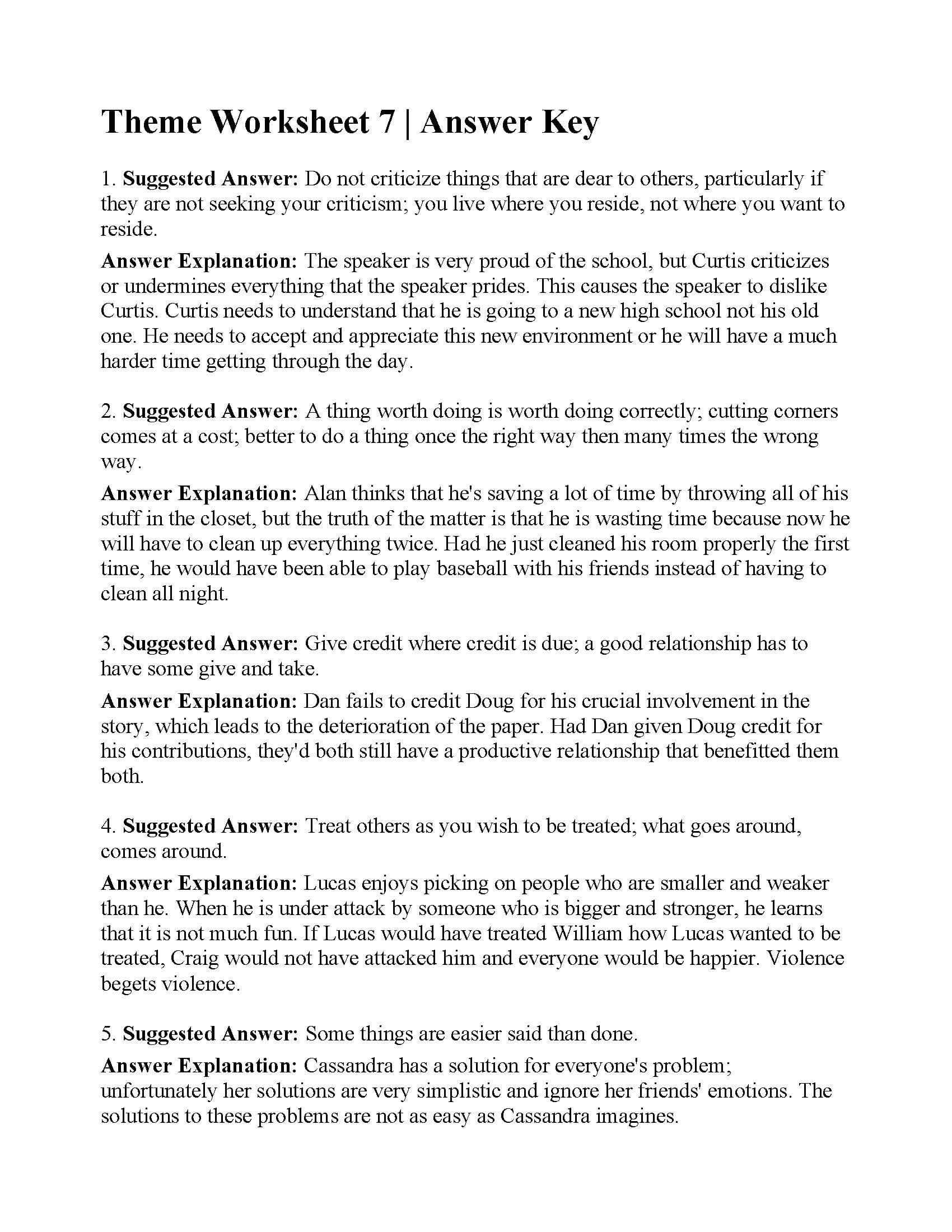 Theme Worksheet 4