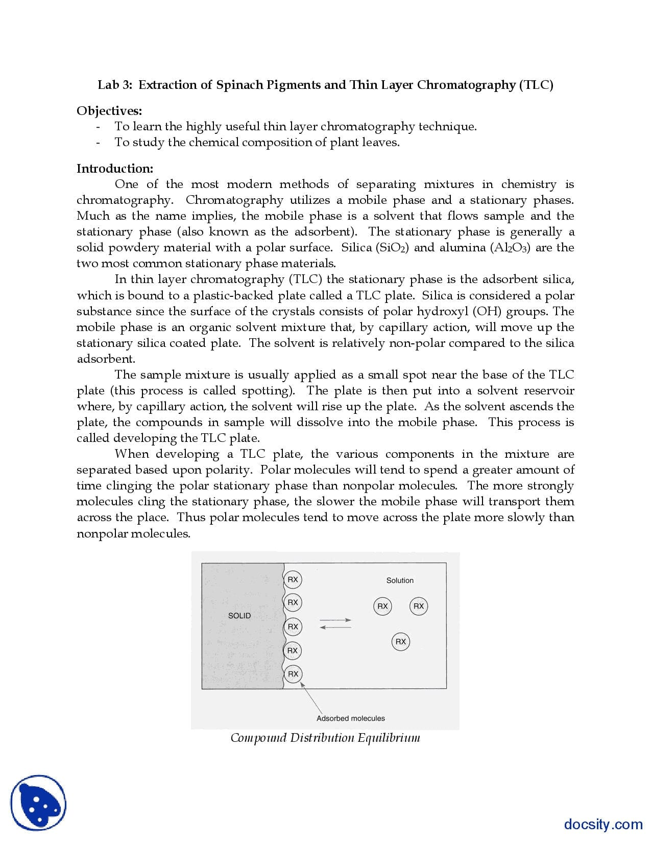 Thin Layer Chromatography General Chemistry Lab Handout