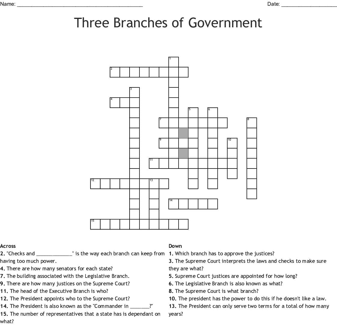 Three Branches Of Ernment Crossword Word