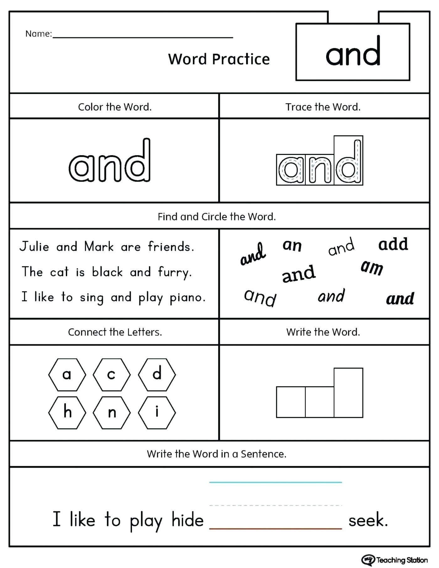 Traceable Names Worksheets