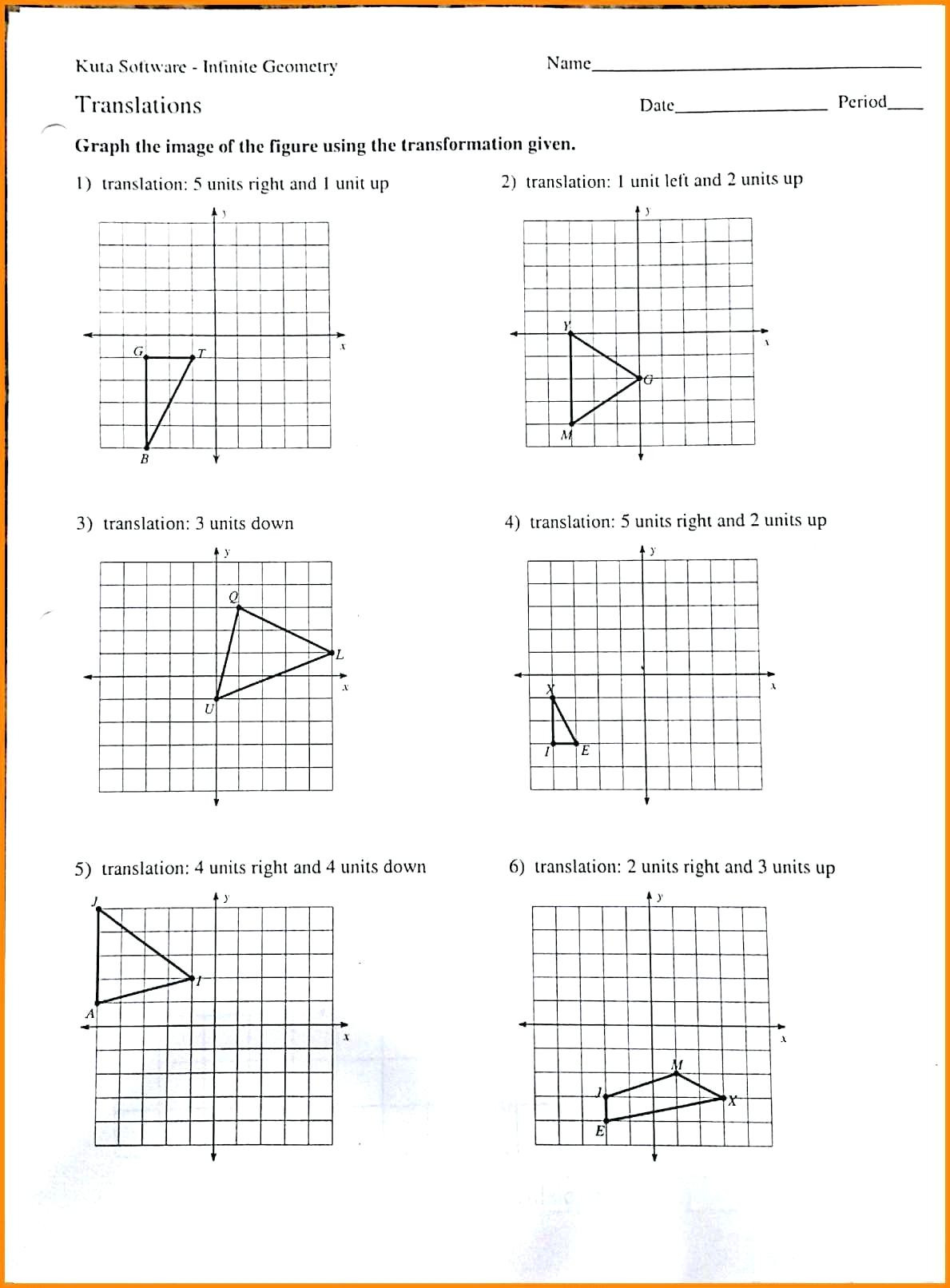 Translations And Reflections Worksheet Math Rotations