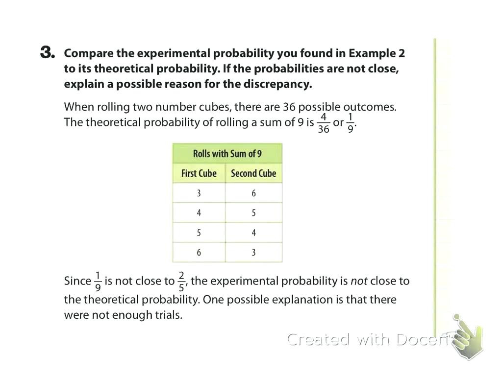 Theoretical And Experimental Probability Worksheet Answers