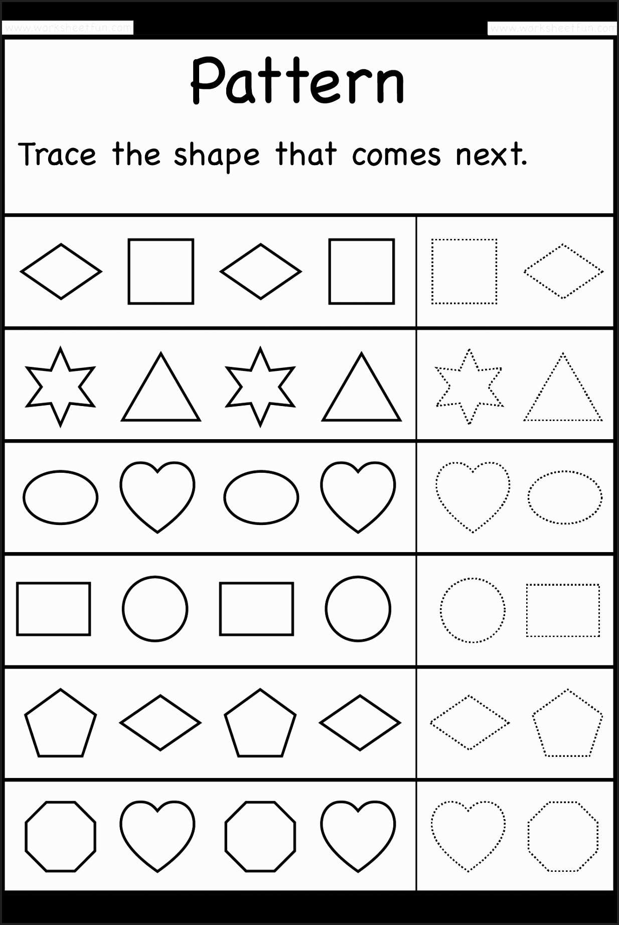 Unique Tracing Shapes Worksheets For Preschool Fun