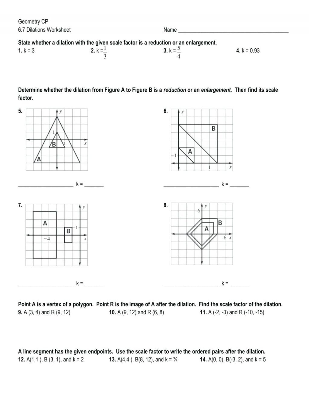 Geometry Cp 6 7 Dilations Worksheet Answers