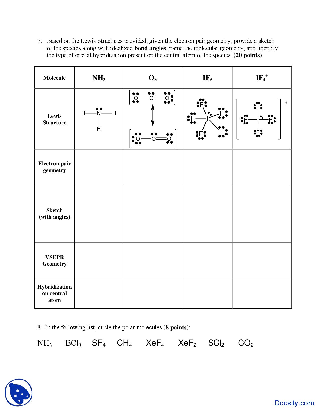 Valence Electrons General Chemistry Quiz Docsity