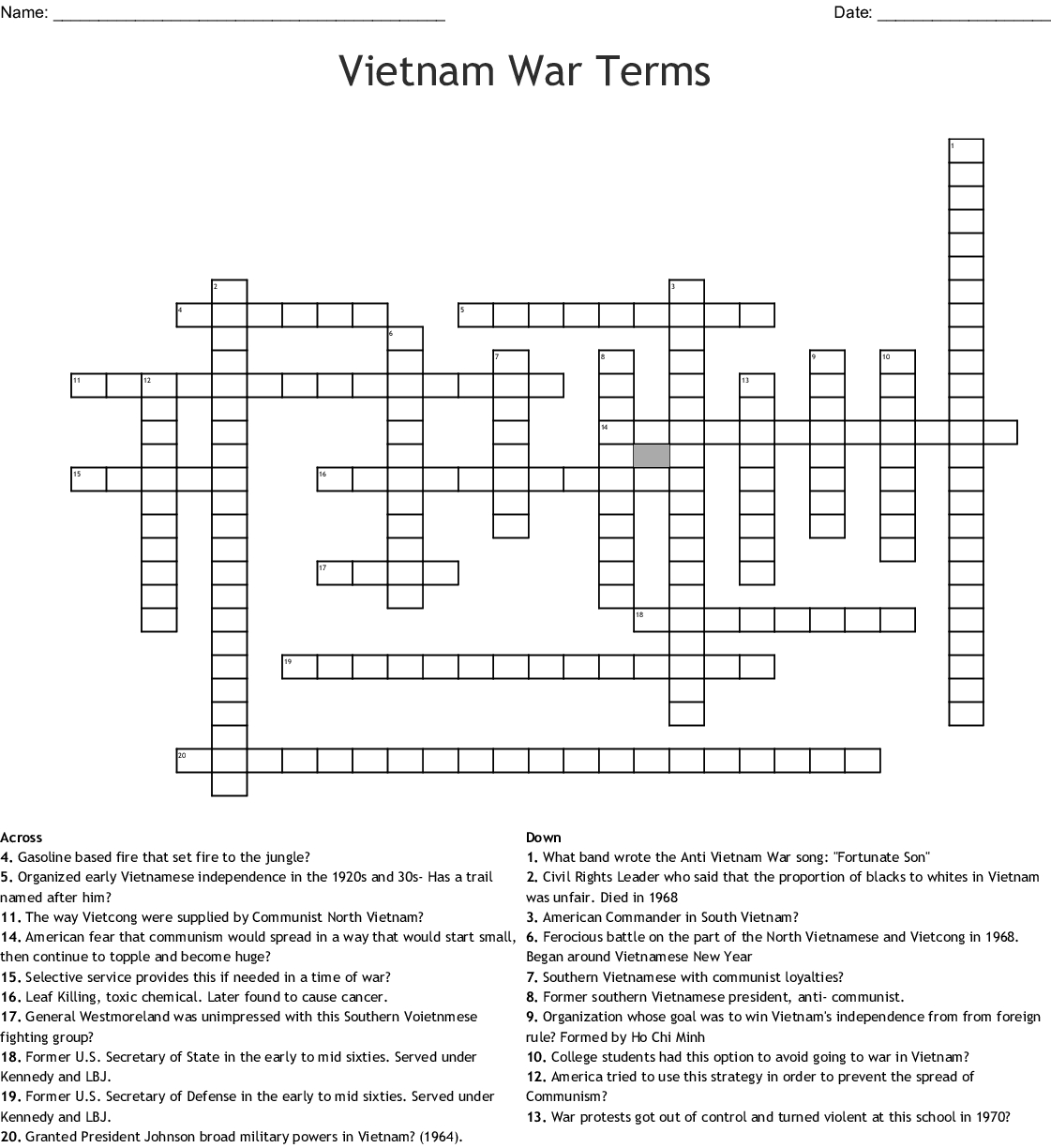Vietnam War Worksheet Answer Key