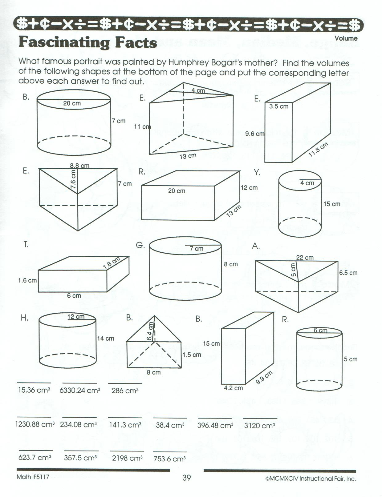 Volume And Surface Area Math Worksheets The Best Image 8th