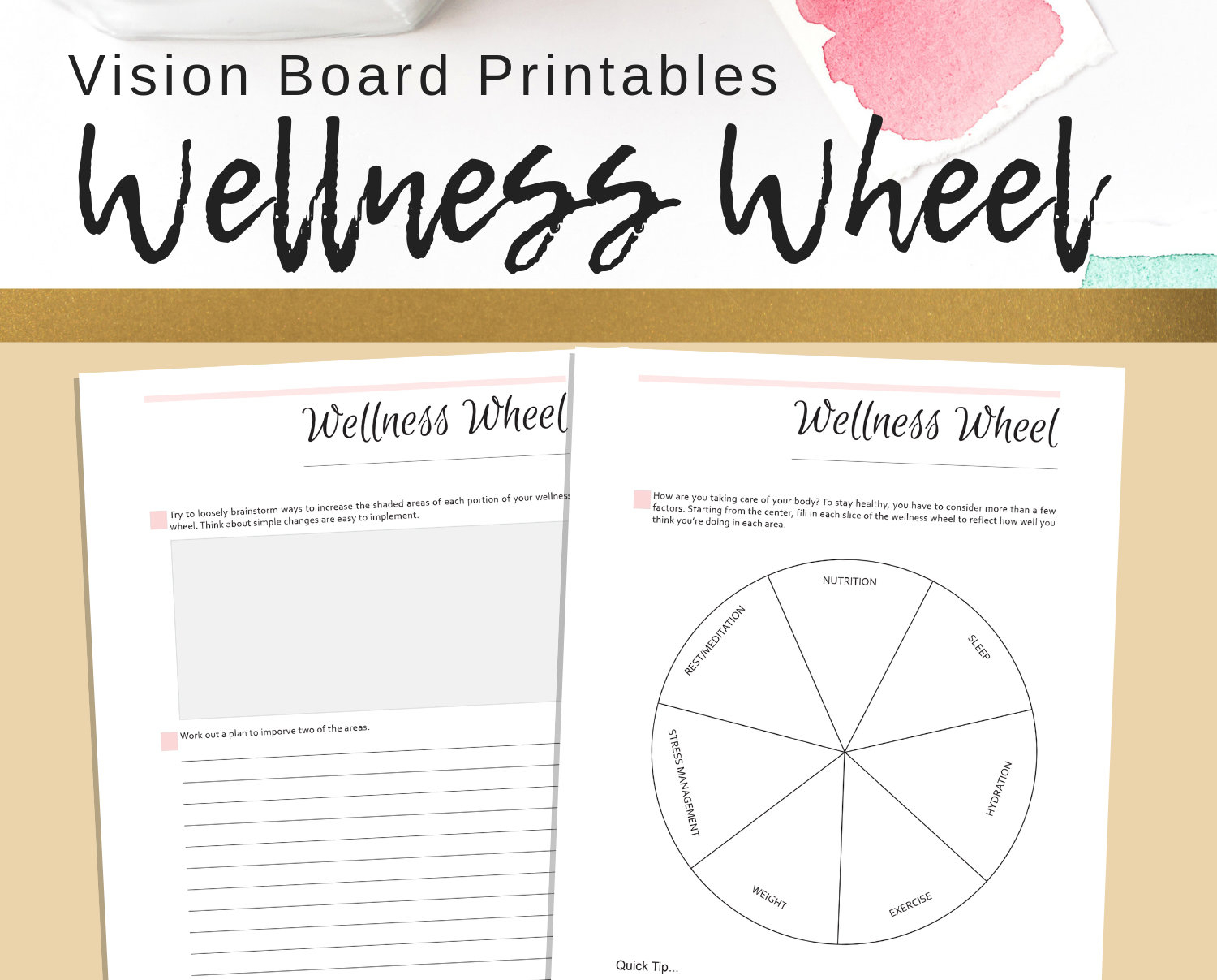 Wellness Wheel Goal Setting Printables Personal