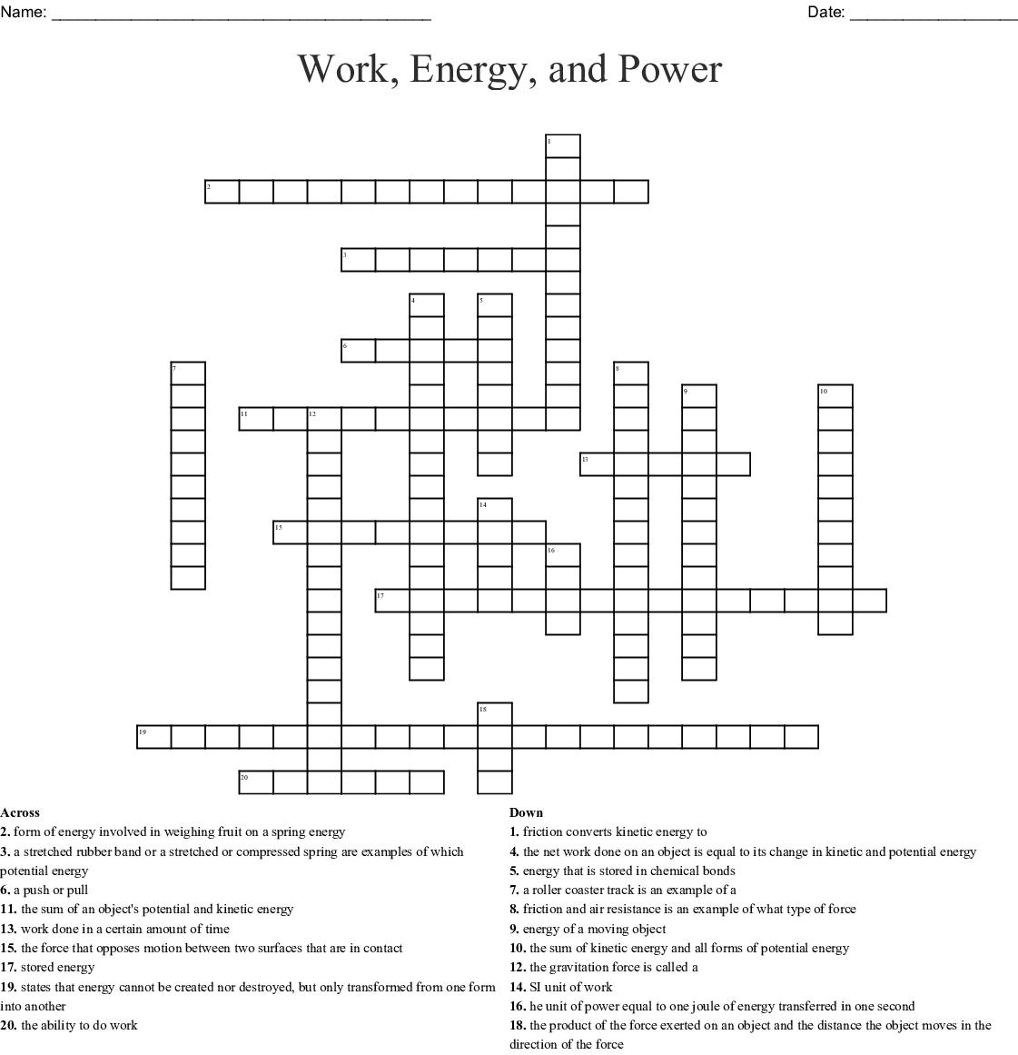 Work Energy And Power Crossword Word