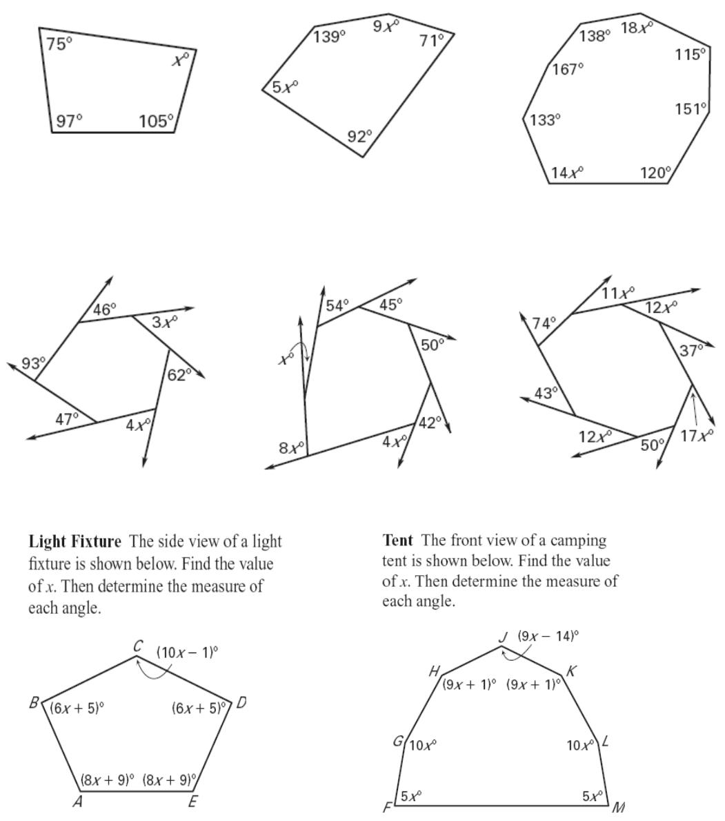 Interior Angles Worksheet