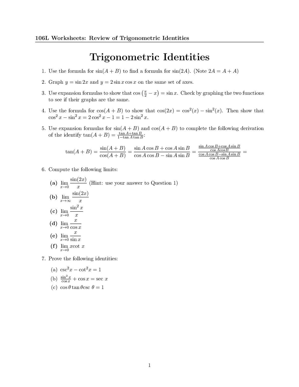 Worksheet 13 Trig Identities 106 Calculus Studocu