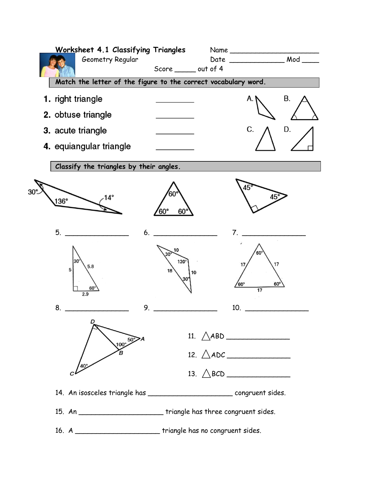 Classifying Triangles Worksheet With Answer Key