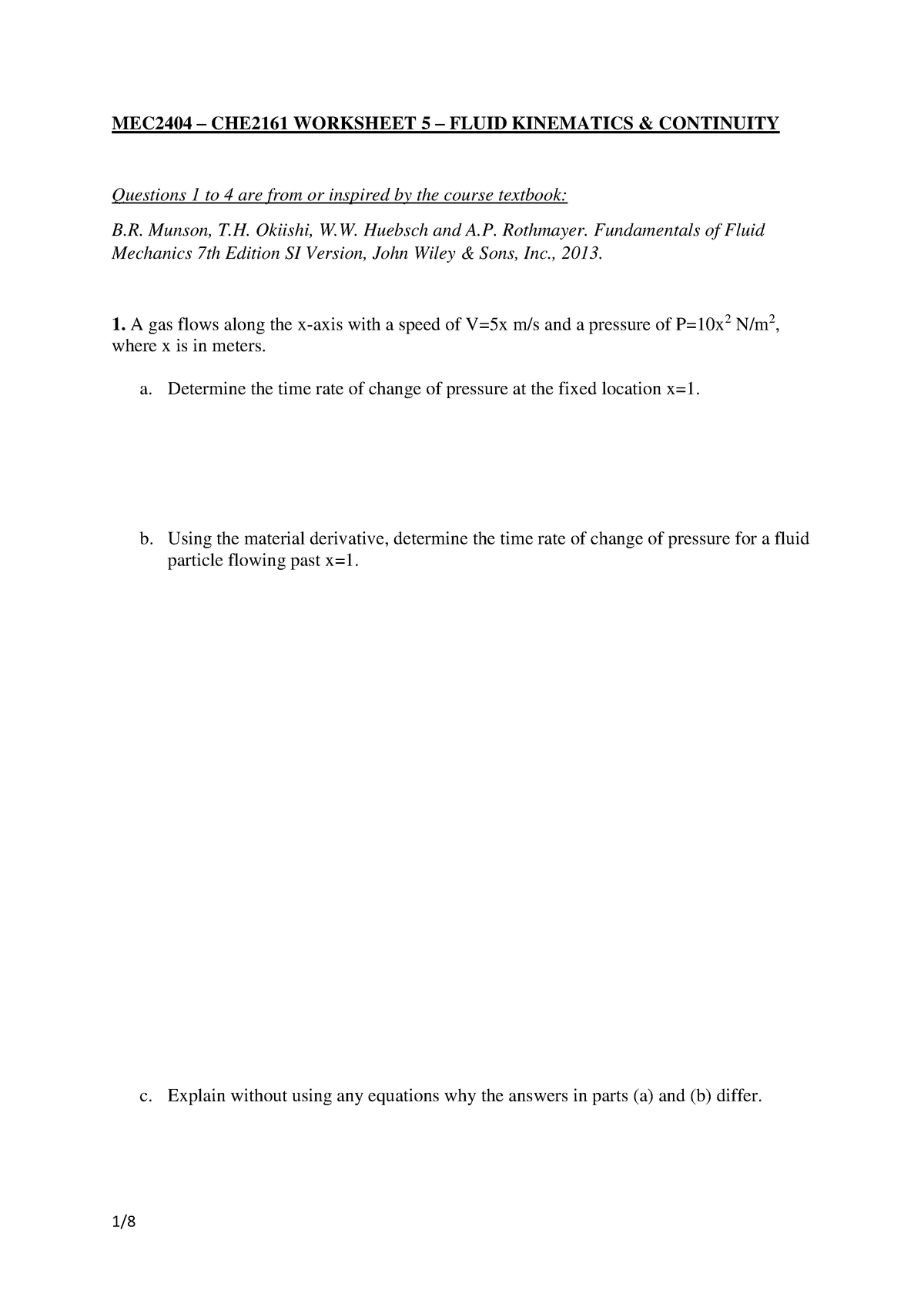 Worksheet 5 Kinematics And Continuity 24 July