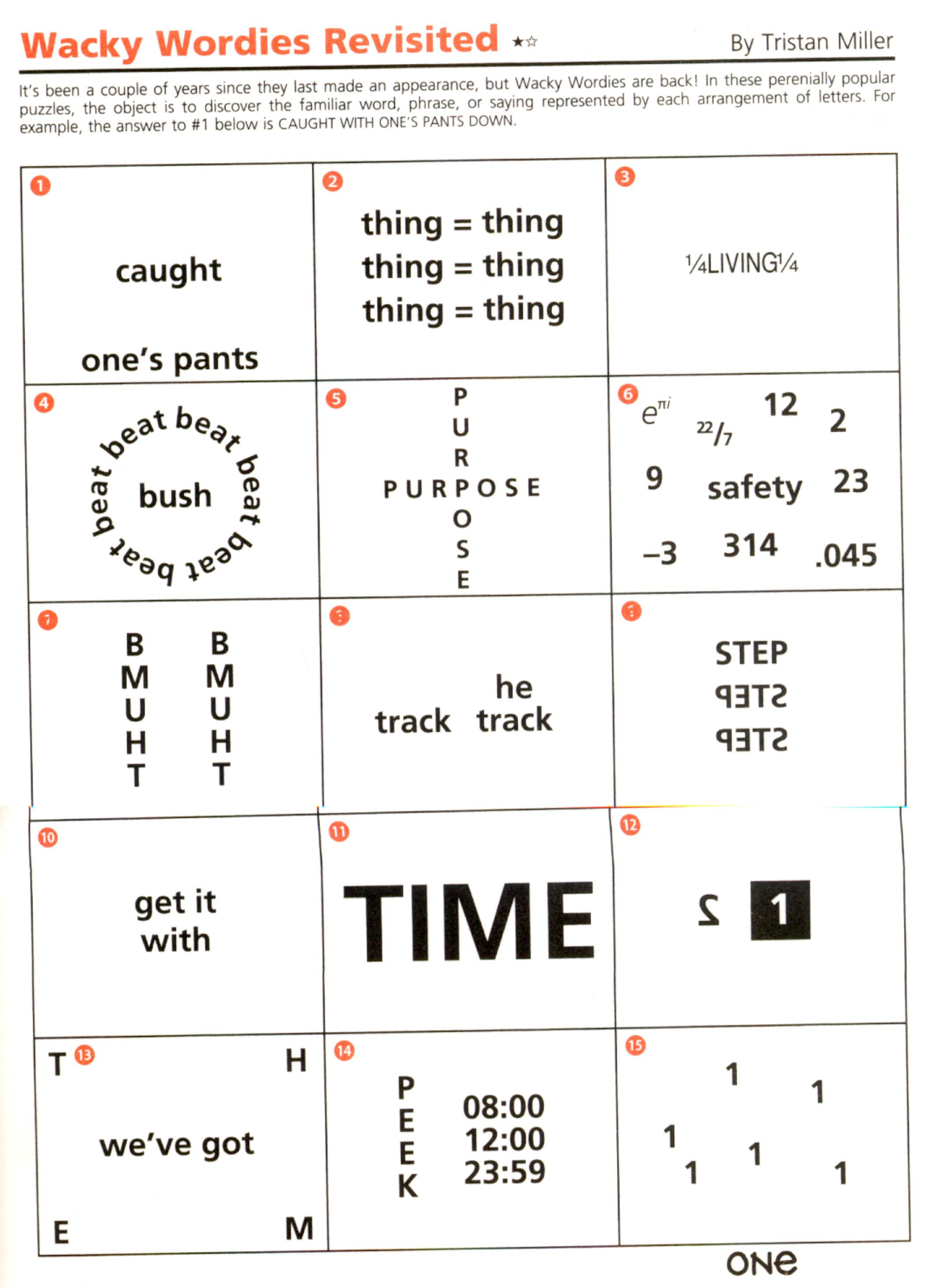 Brain Teasers Worksheets