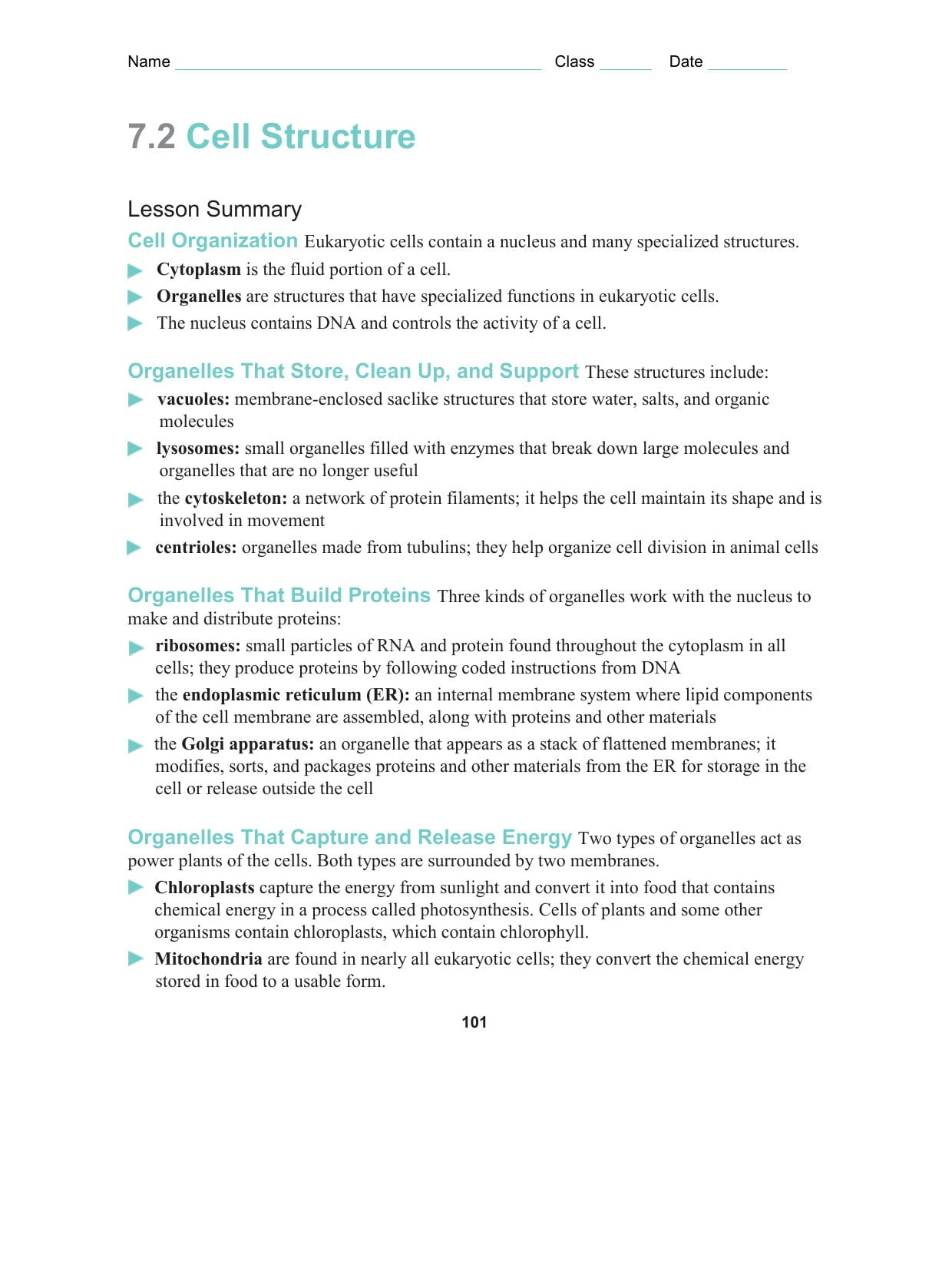 7 2 Cell Structure Worksheet Answer Key Biology