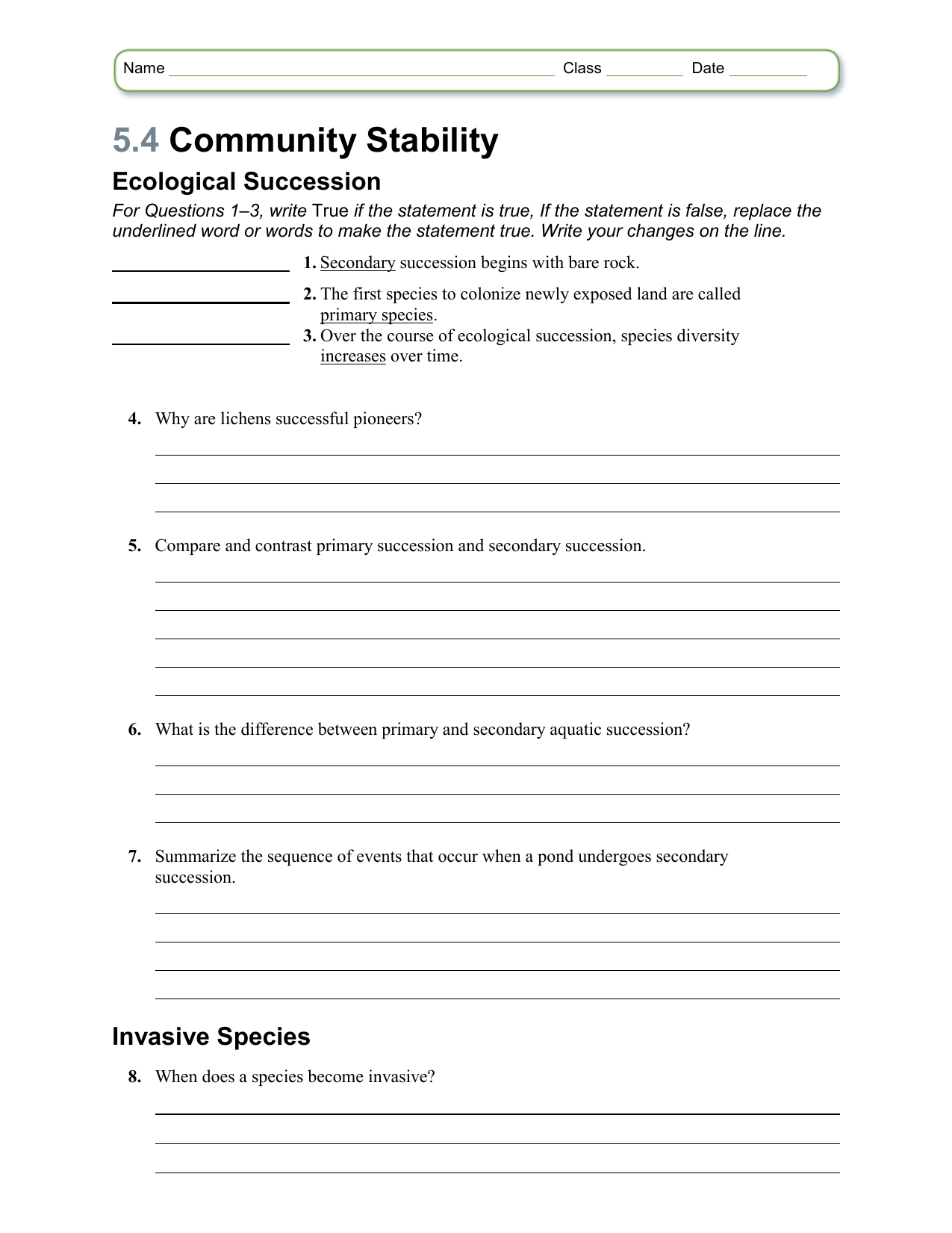 Ecological Succession Worksheet
