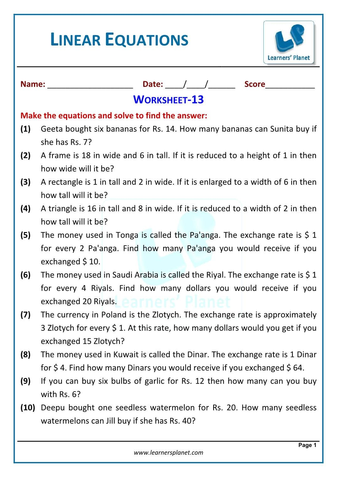 Worksheet For Linear Equations In One Variable Class 7