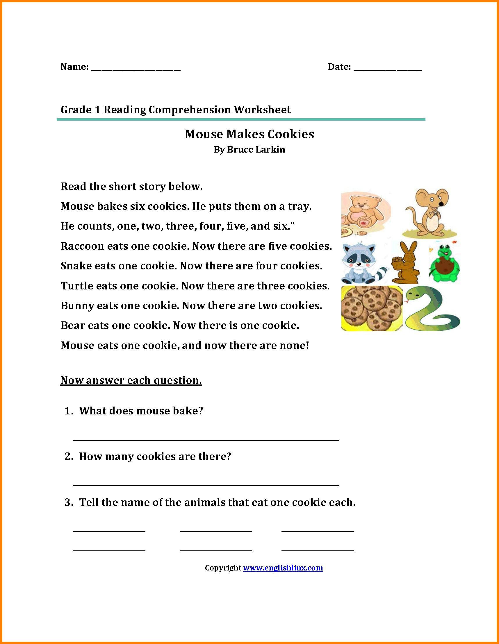 Comprehension Worksheets For Grade 1 Free