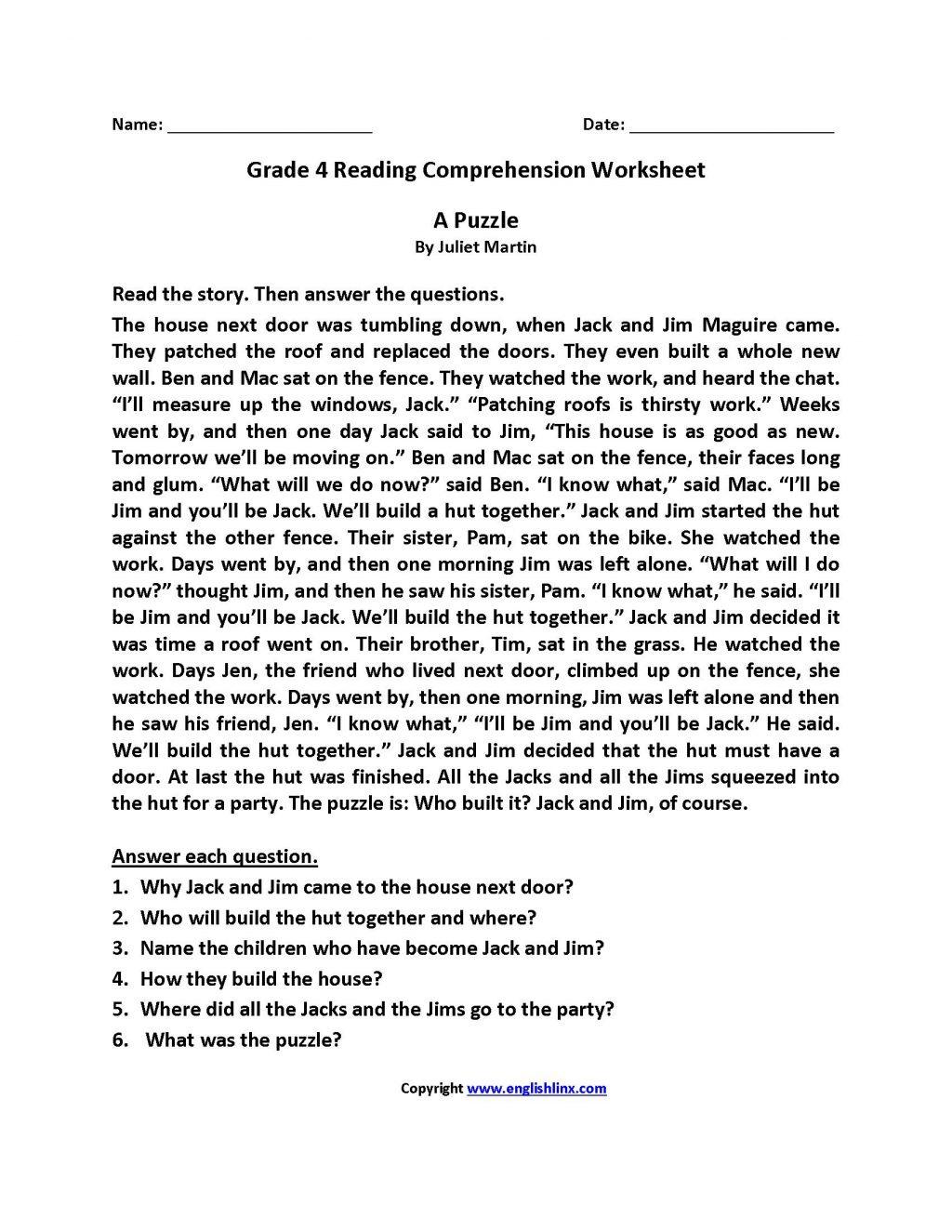 Worksheet Ideas 3rd Grade Reading Comprehension Worksheets