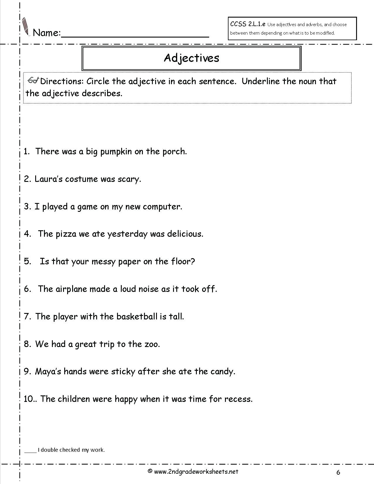 Worksheet Noun Verb Adjective Introduction To Fractions