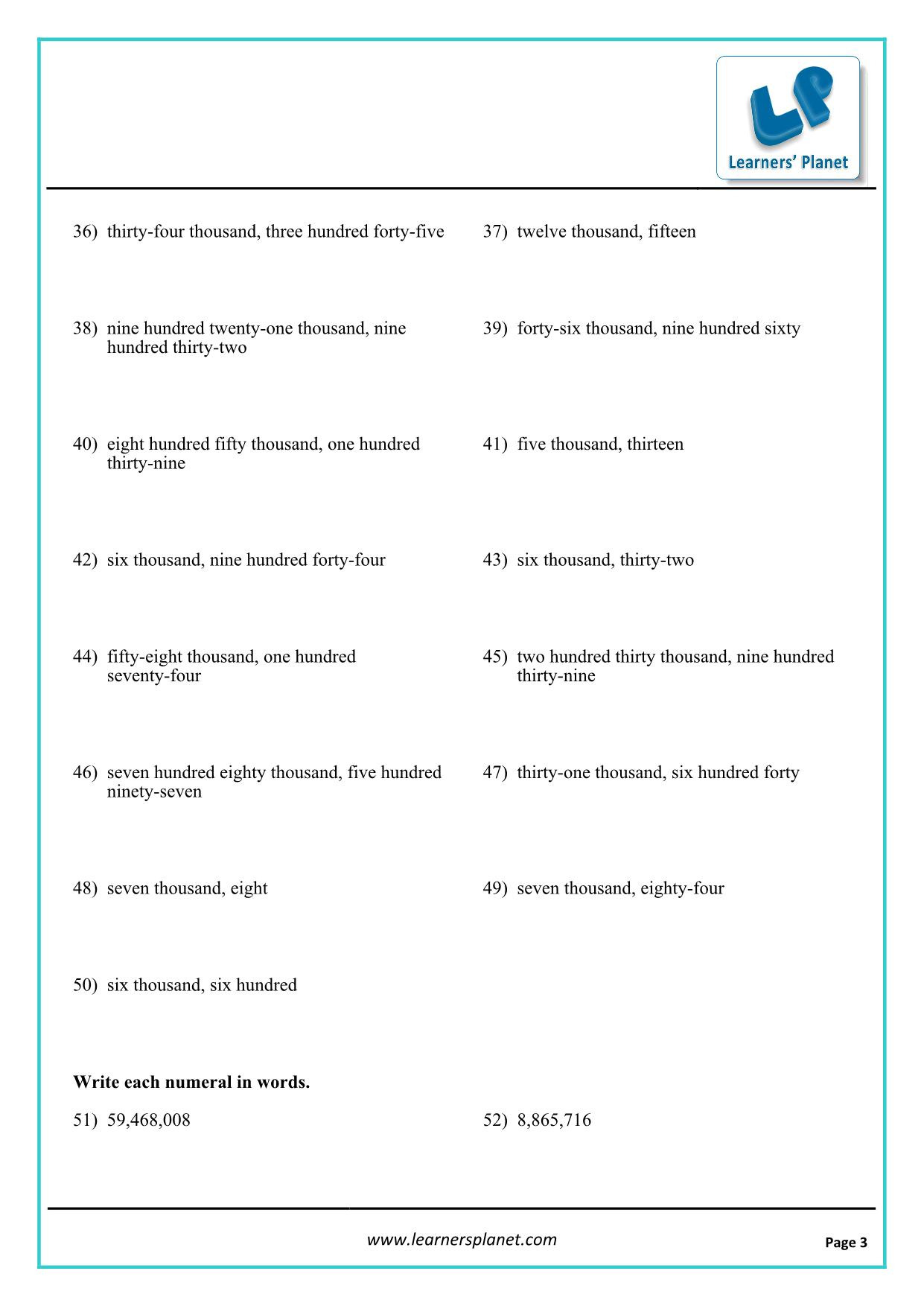 Worksheet On International Numbering System 5th Class