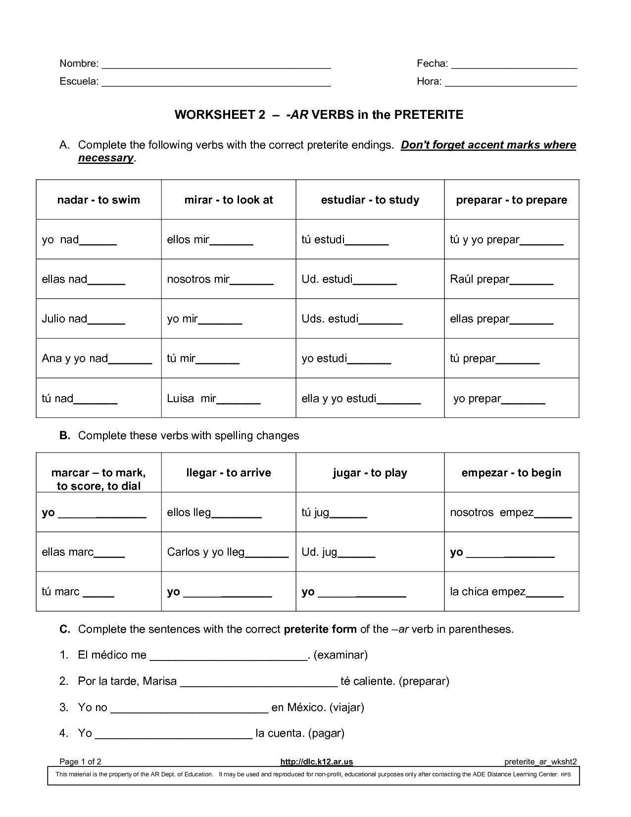 Worksheet Preterite Tense Answers Db Excel