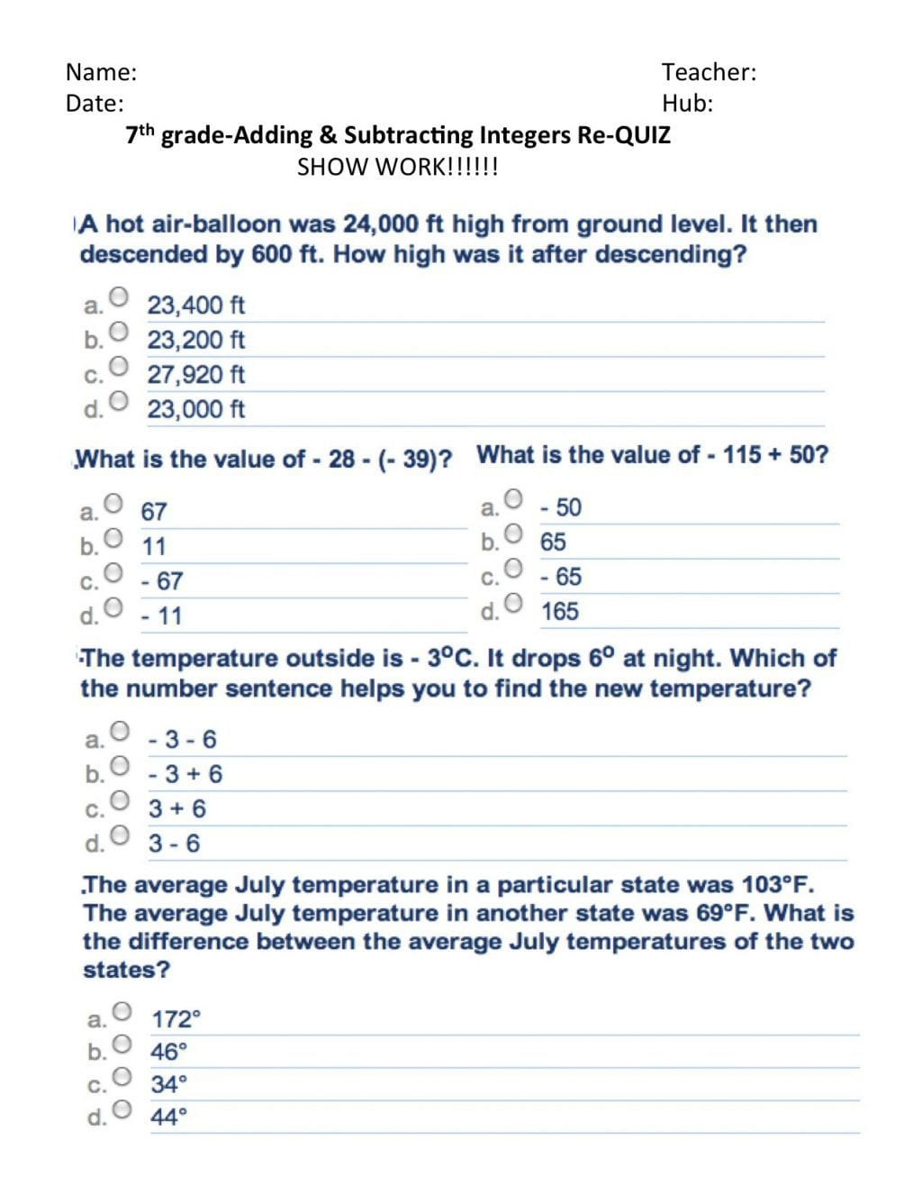 Adding And Subtracting Integers Word Problems Worksheet