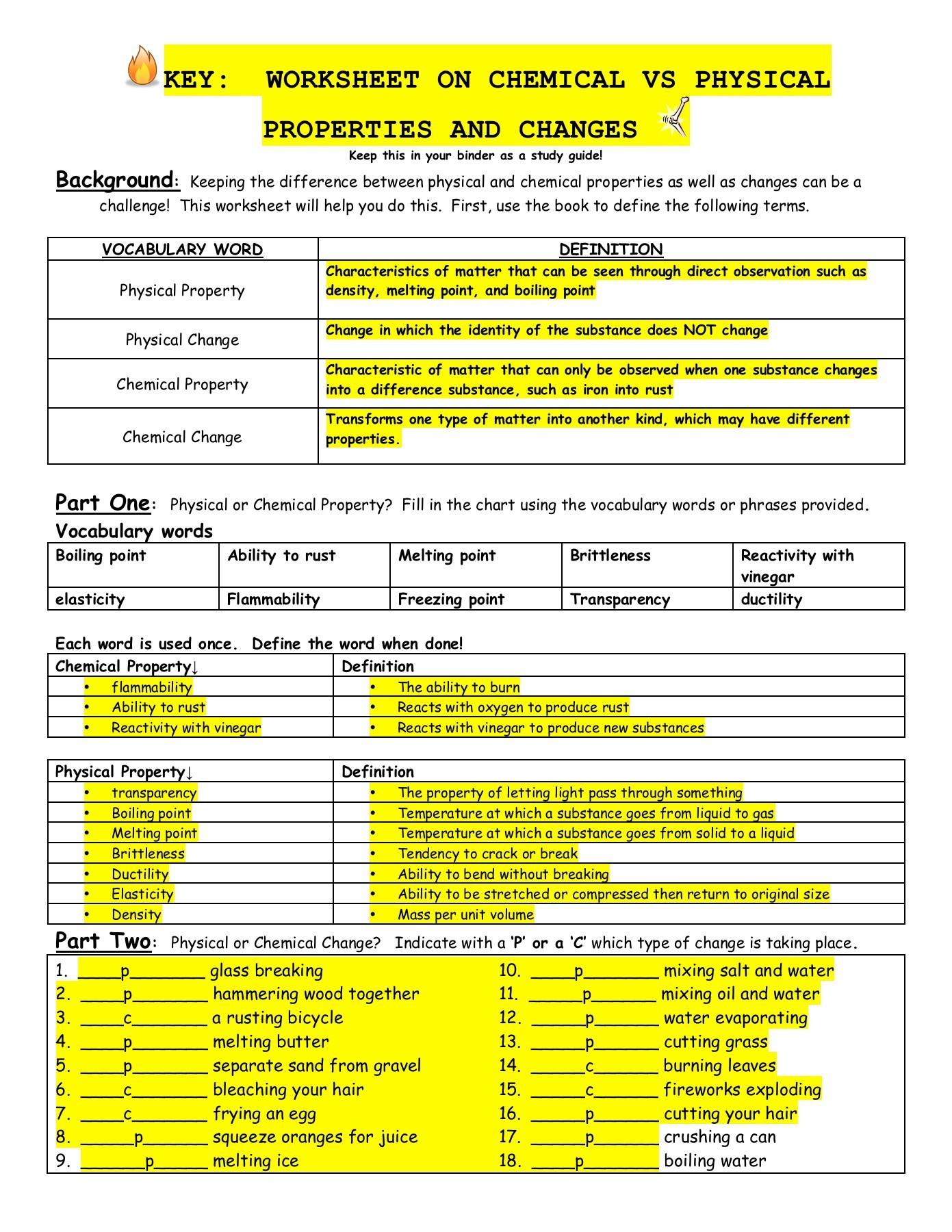 Worksheets Worksheet On Chemical Vs Physical Properties