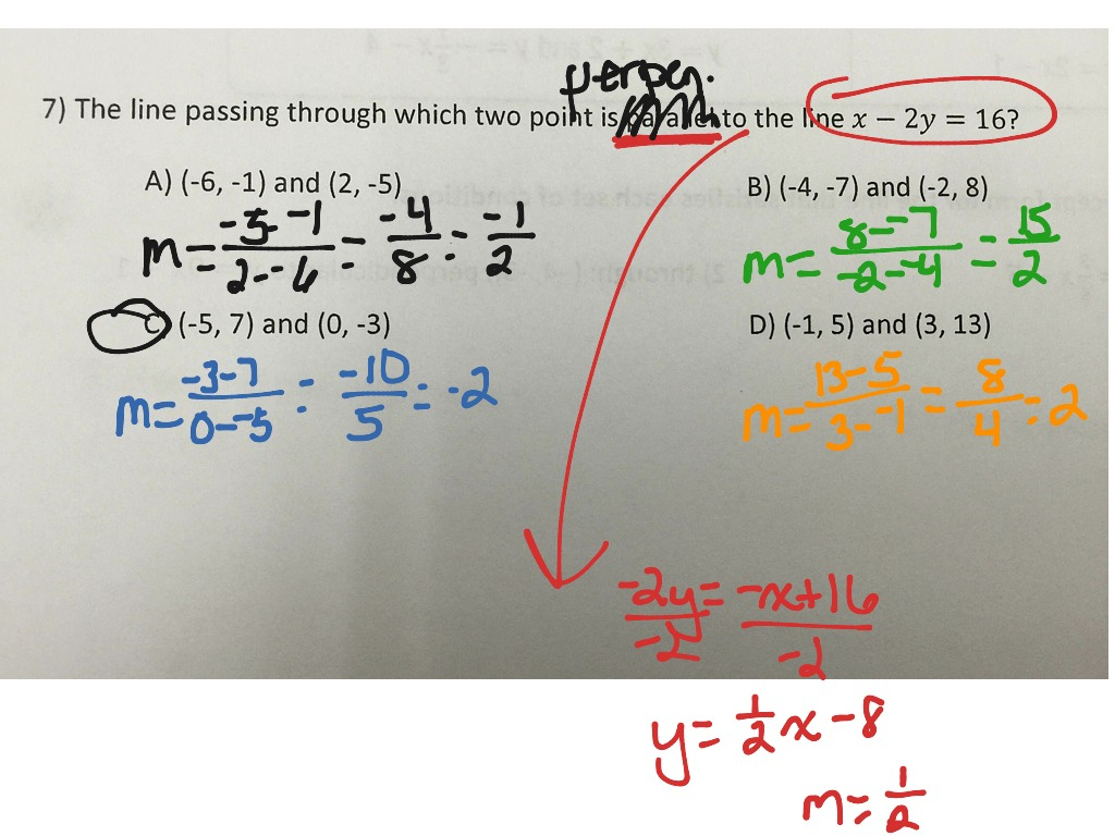 Writing Equations Of Parallel And Perpendicular Lines Math