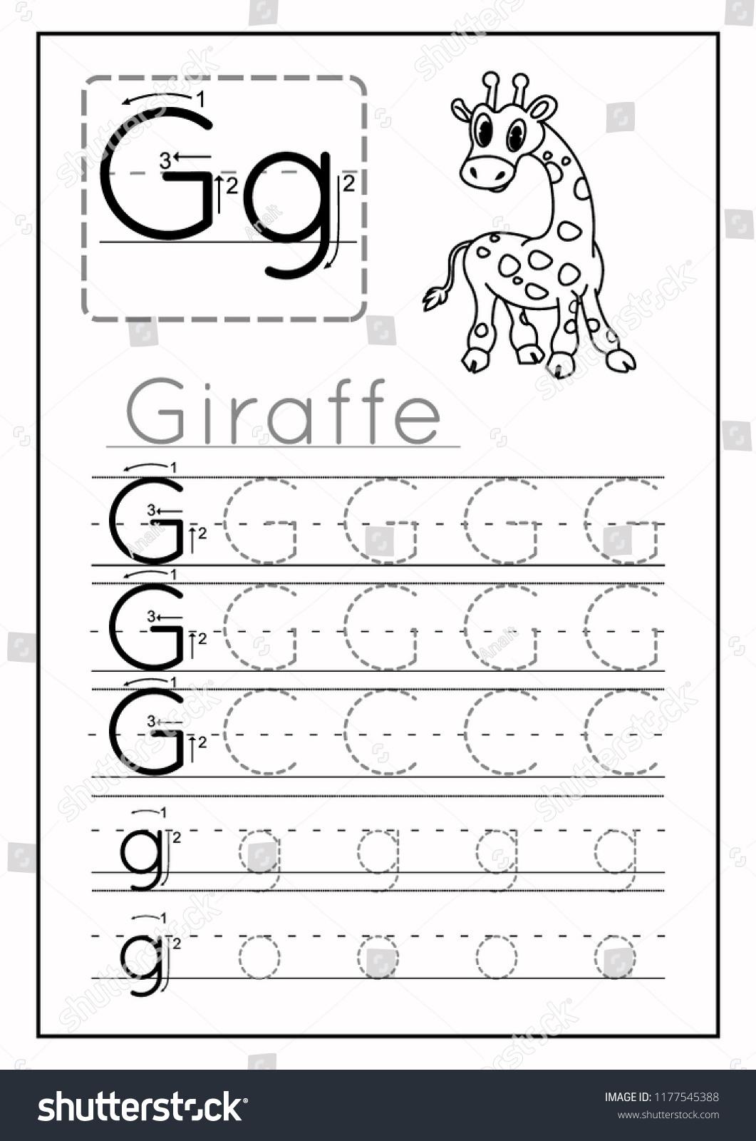 Writing Practice Letter G Printable Worksheet Stock Vector