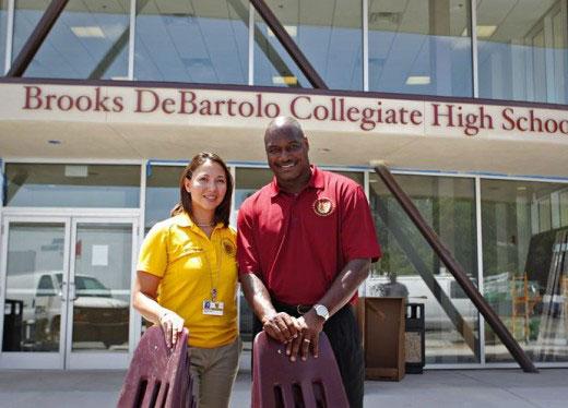 BDCHS Principal Kristine Bennett & Derrick Brooks
