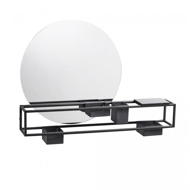 Woud Mirror Box - black/matt/mirror �50cm/LxWxH 75x12x55cm