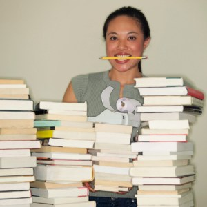 Woman Taking Inventory of Books ca. 2002